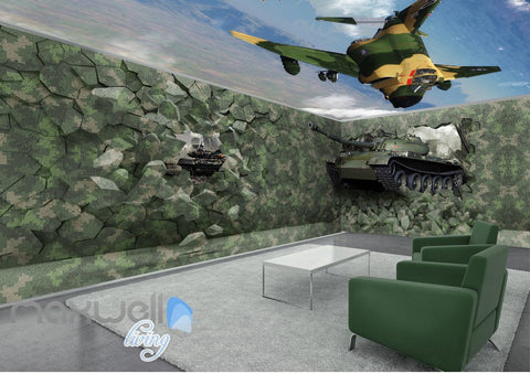 Image of 3D Tank Break Wall Air Force Sky Wall Murals Wallpaper Decals Art Prints Decor IDCQW-000322