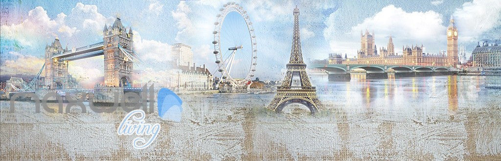 3D Paris Tower Big Ben London Painting Wall Murals Wallpaper Decals Art Print Decor IDCQW-000323
