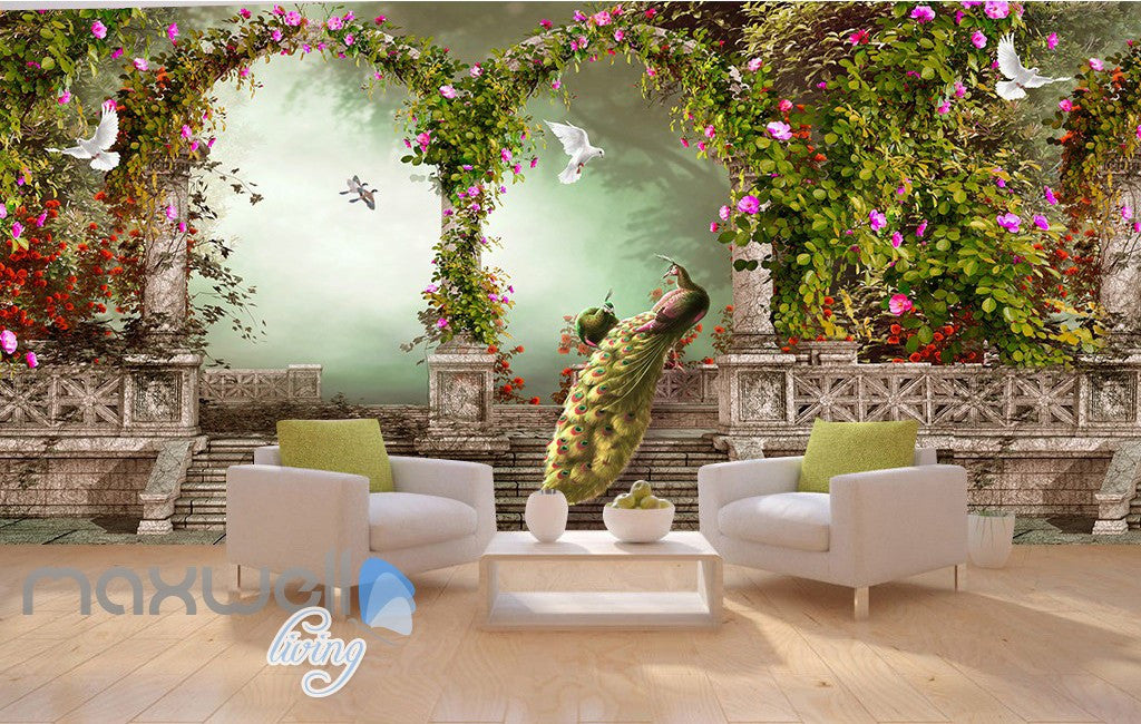 3D Peacock Arch Garden Stairs Wall Murals Wallpaper Decals Art Print Decor IDCQW-000324