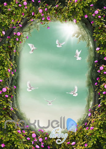 Image of 3D Peacock Arch Garden Stairs Wall Murals Wallpaper Decals Art Print Decor IDCQW-000324
