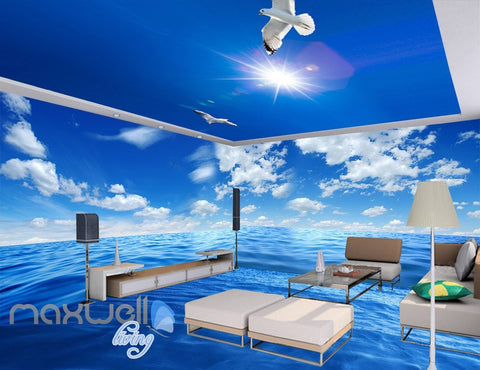 Image of 3D Pure Blue Sky Ceiling Ocean Wall Murals Wallpaper Decals Art Print Decor IDCQW-000325