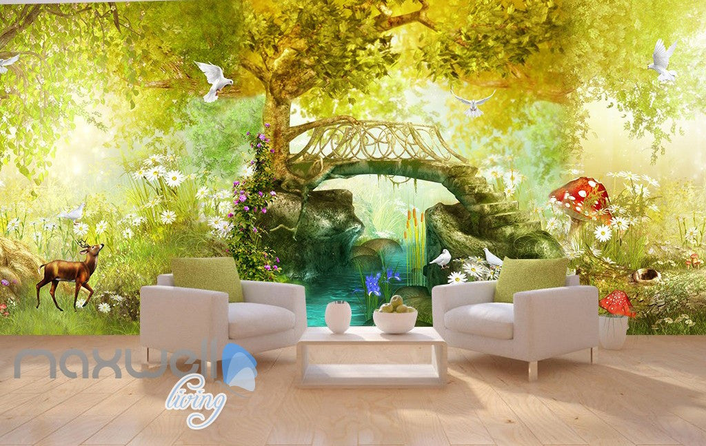3D Vintage Fairy Garden Wall Murals Wallpaper Decals Art Print Decor  IDCQW 000326