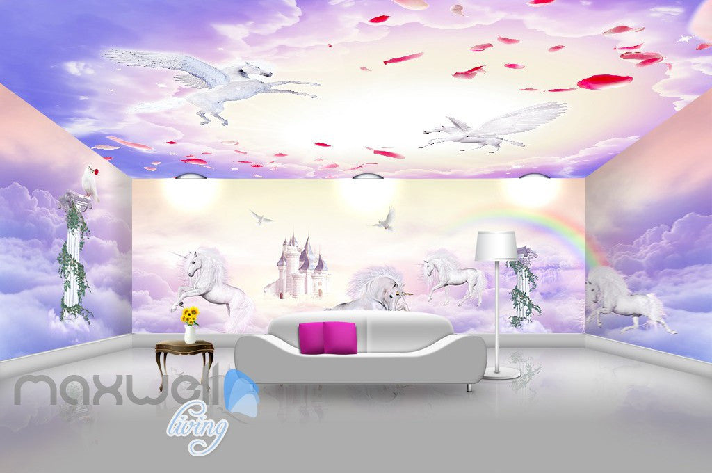 3d Unicorn Rainbow Castle Wall Murals Wallpaper Wall Paper