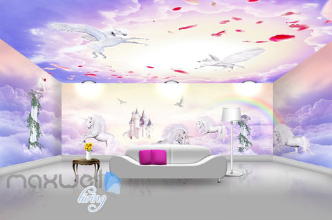 Image of 3D Unicorn Rainbow Castle Wall Murals Wallpaper Wall Paper Decals Art Print Decor IDCQW-000327