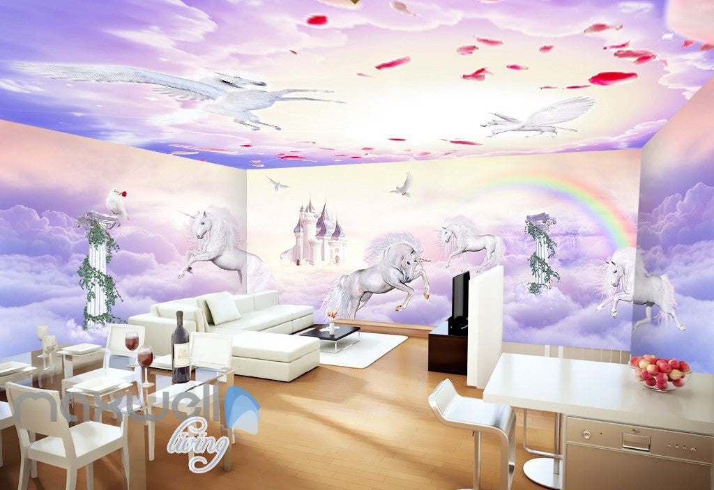 3D Unicorn Rainbow Castle Wall Murals Wallpaper Wall Paper Decals Art Print Decor IDCQW-000327