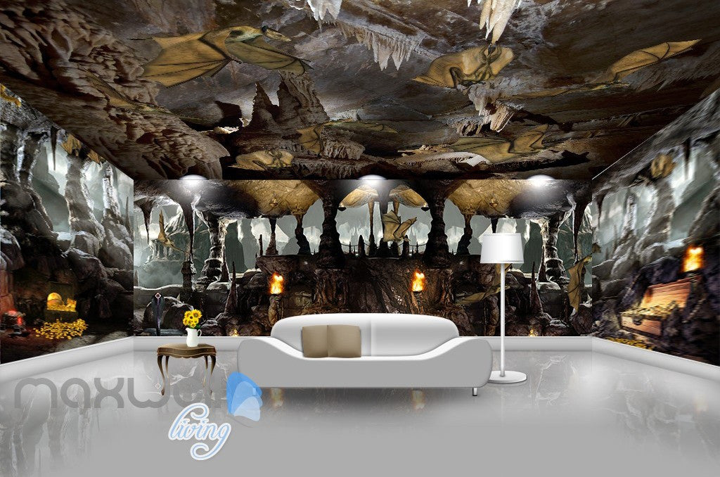 3D Cave Treasure Bat Wall Murals Wallpaper Wall Paper Decals Art Print Decor IDCQW-000330