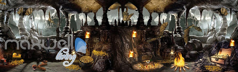 Image of 3D Cave Treasure Bat Wall Murals Wallpaper Wall Paper Decals Art Print Decor IDCQW-000330