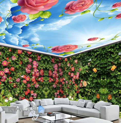 Image of 3D Roses Green Wall Entire Room Wall Murals Wallpaper Paper Decals Art Print Decor IDCQW-000333