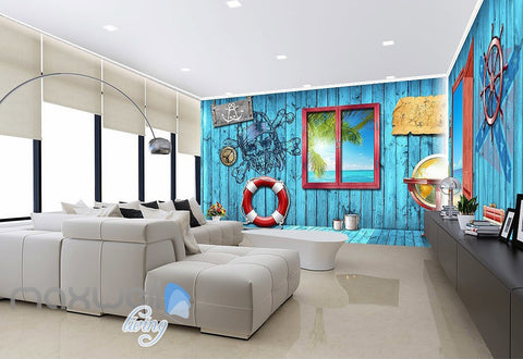 Image of 3D Blue Beach Side Cabin Window Wall Murals Wallpaper Paper Art Print Decor  IDCQW-000337