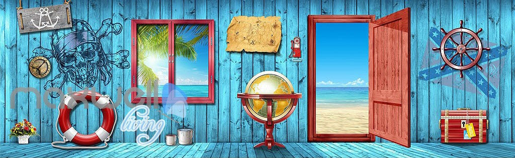 3D Blue Beach Side Cabin Window Wall Murals Wallpaper Paper Art Print Decor  IDCQW-000337