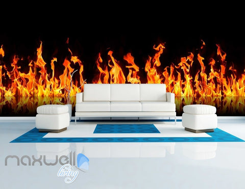 Image of custom size  3D Fire Flame Wall Murals Wallpaper Paper Art Print Decor IDCQW-000338