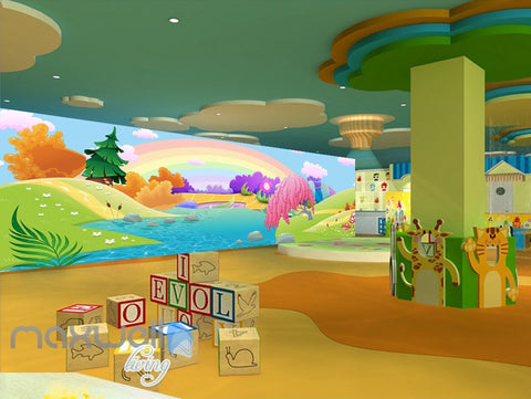 Image of 3D Rainbow Fairy Land River Kids Wall Murals Wallpaper Paper Art Print Decor IDCQW-000339