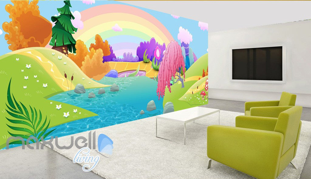 3d Rainbow Fairy Land River Kids Wall Murals Wallpaper Paper Art Print Decor Idcqw 000339