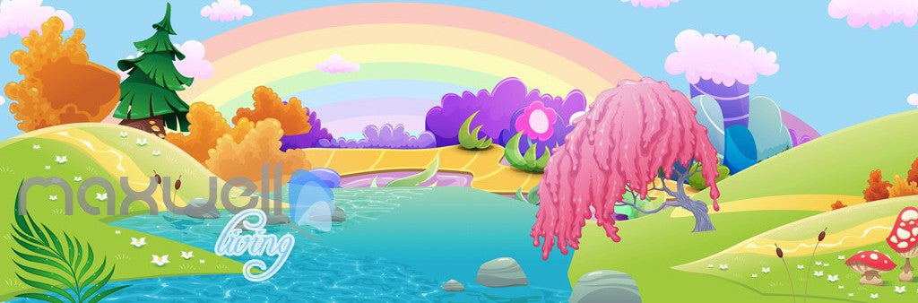 3D Rainbow Fairy Land River Kids Wall Murals Wallpaper Paper Art Print Decor IDCQW-000339