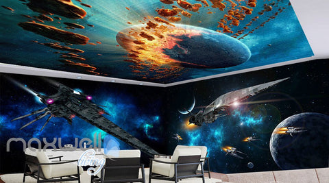 Image of 3D Star Wall Spacecraft Battle Wall Murals Wallpaper Paper Art Print Decor IDCQW-000340