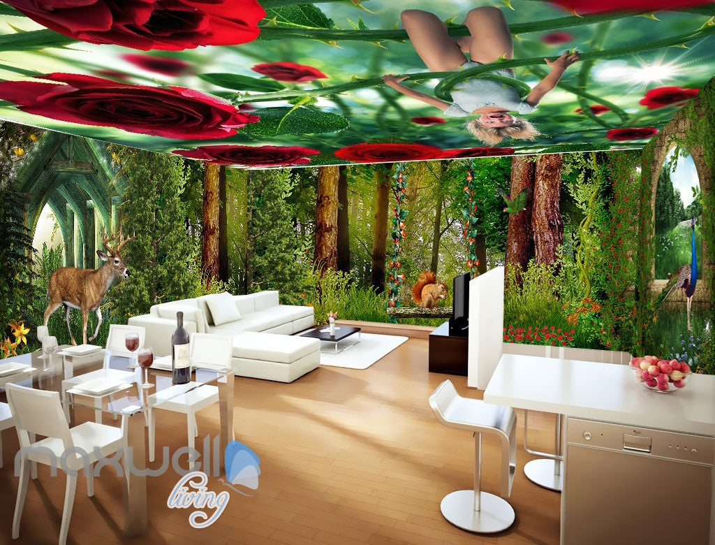 ceiling wall murals idecoroom 3d flower forest fairy ceiling wall murals wallpaper paper art print decor idcqw 000343