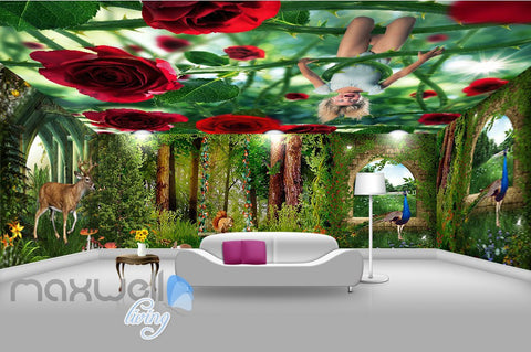 Image of 3D Flower Forest Fairy Ceiling Wall Murals Wallpaper Paper Art Print Decor IDCQW-000343