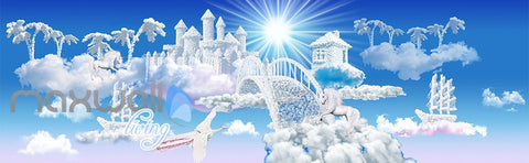 Image of 3D Clouds Castle Fantacy Unicorn Wall Mural Wallpaper Paper Art Print Decor IDCQW-000344