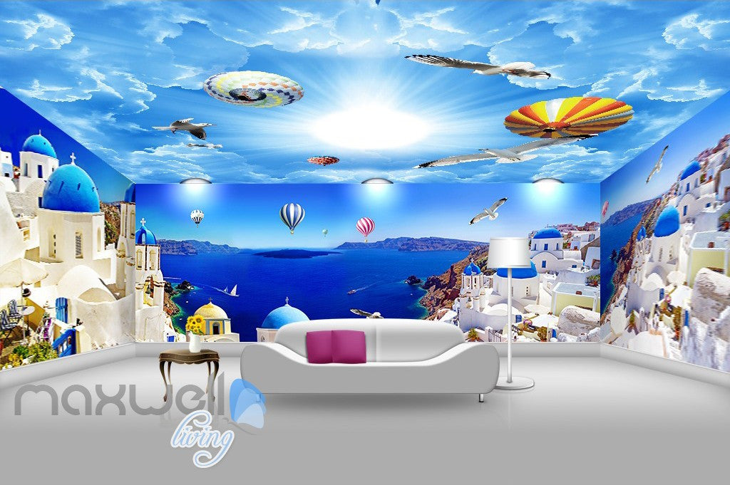 3D Blue Ocean Hot Air Ballon Wall Mural Wallpaper Paper Art Print Decor IDCQW-000345