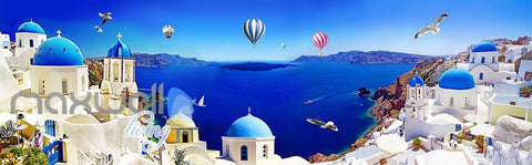 Image of 3D Blue Ocean Hot Air Ballon Wall Mural Wallpaper Paper Art Print Decor IDCQW-000345