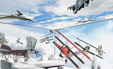 Image of 3D Planes Clouds Wall Murals Wallpaper Paper Art Print Decor IDCQW-000346