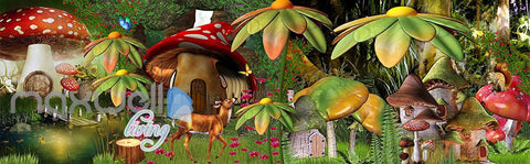 Image of 3D Fantacy World Mushroom Animals Wall Murals Wallpaper Paper Art Decor IDCQW-000355