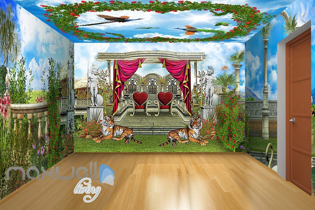 3D Tiger Peacock Garden Arch Wall Murals Wallpaper Paper Art Decor IDCQW-000357