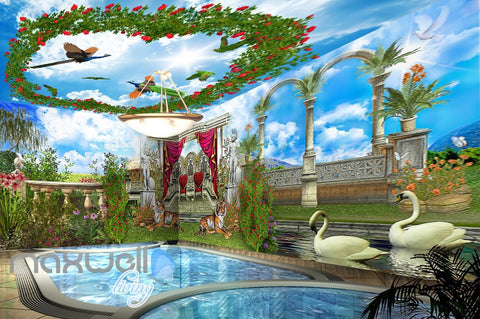 Image of 3D Tiger Peacock Garden Arch Wall Murals Wallpaper Paper Art Decor IDCQW-000357