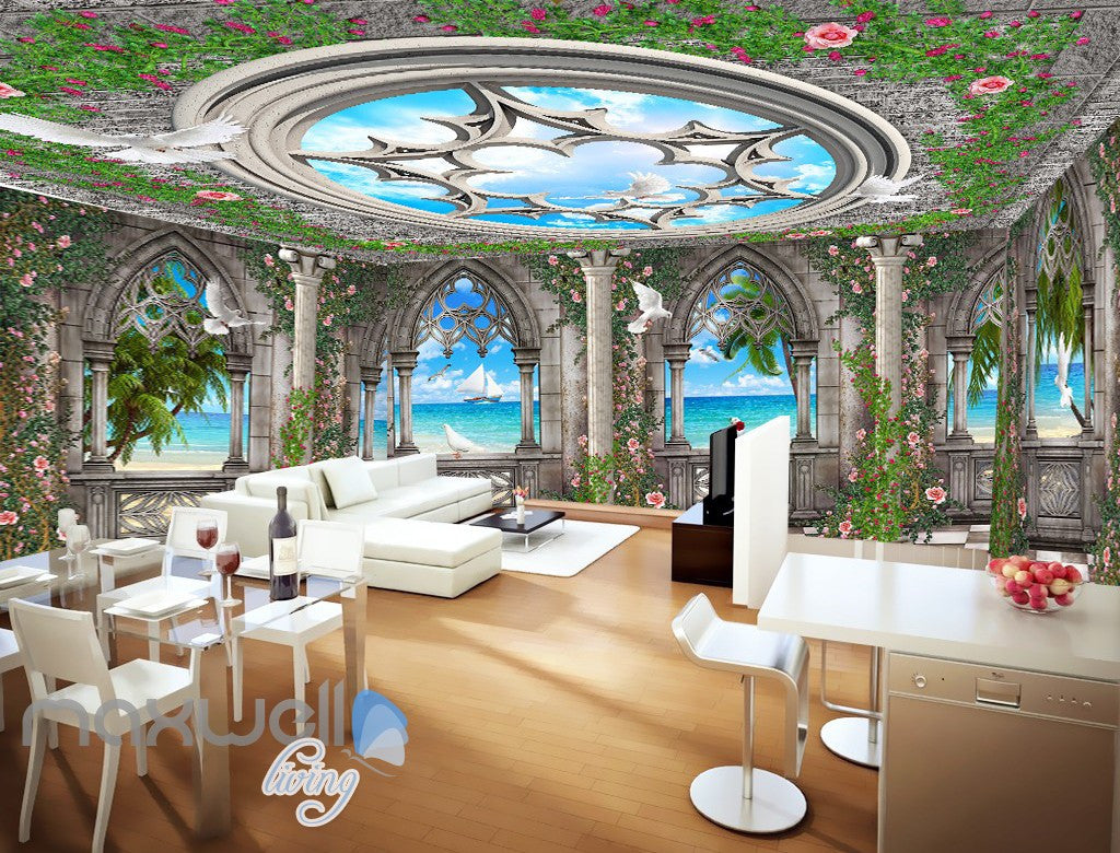 3d Arch Window Ocean View Sky Ceiling Wall Murals