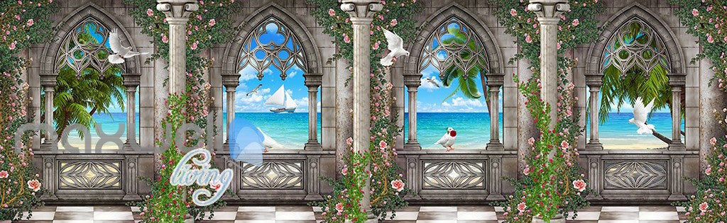 3D Arch Window Ocean View Sky Ceiling Wall Murals Wallpaper Art Print Decor IDCQW-000360