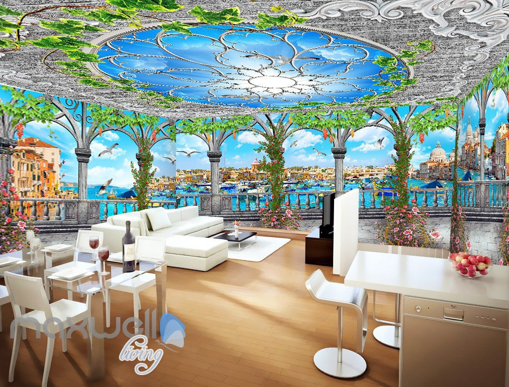 3D Flower Vine Pegola Blue Sky Ceiling Wall Murals Wallpaper Art Print Decor IDCQW-000361