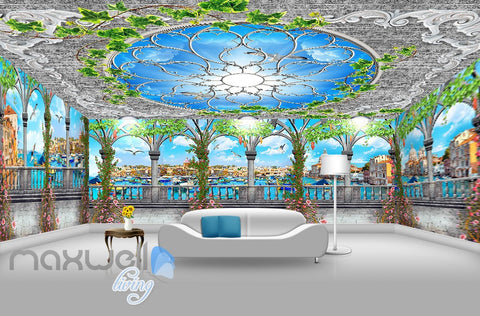 Image of 3D Flower Vine Pegola Blue Sky Ceiling Wall Murals Wallpaper Art Print Decor IDCQW-000361