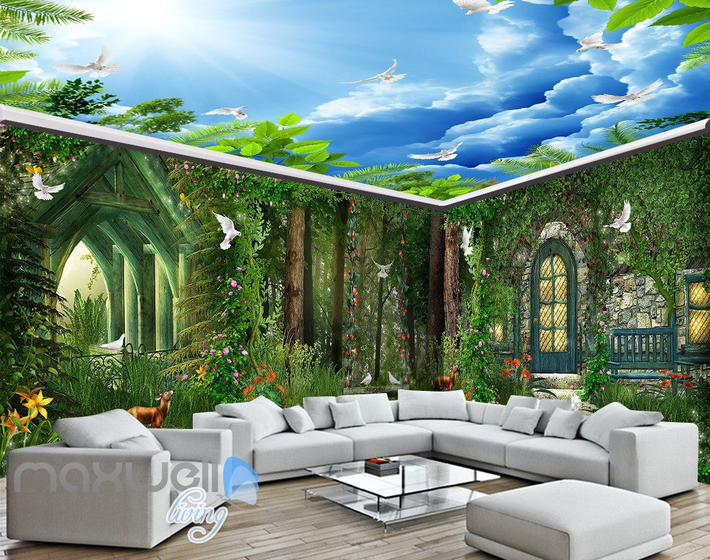 3D Forest House Pigeon Deer Wall Murals Wallpaper Art Print Decor