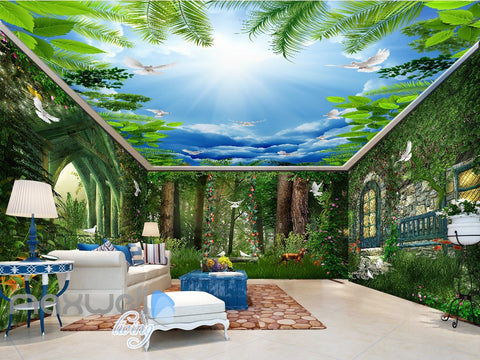 Image of 3D Forest House Pigeon Deer Wall Murals Wallpaper Art Print Decor IDCQW-000362