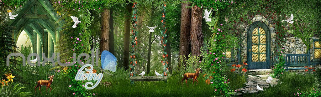 3D Forest House Pigeon Deer Wall Murals Wallpaper Art Print Decor IDCQW-000362