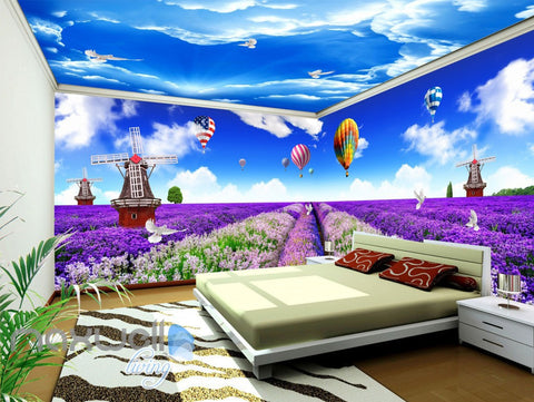 Image of 3D Lavendar Flower Windmill Wall Murals Wallpaper Art Print Decor IDCQW-000363