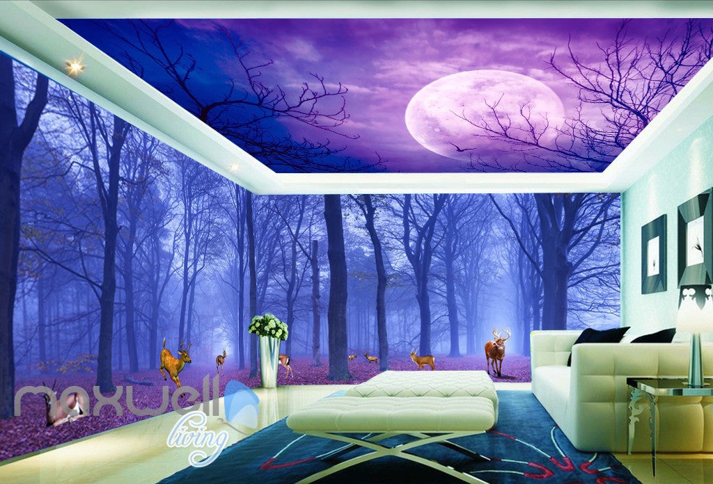 3D Forest Deer Moon Ceiling Wall Murals Wallpaper Paper Art Print