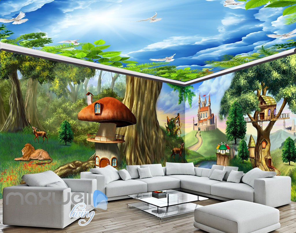 3d fantacy treehouse castle wall murals wallpaper paper art print 3d fantacy treehouse castle wall murals wallpaper paper art print decor idcqw 000373