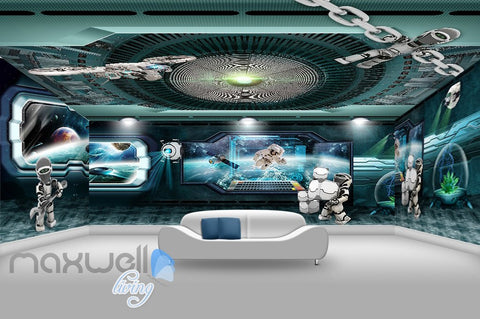Image of 3D Space Station Window Astronauts Wall Murals Wallpaper Paper Art Decor IDCQW-000378