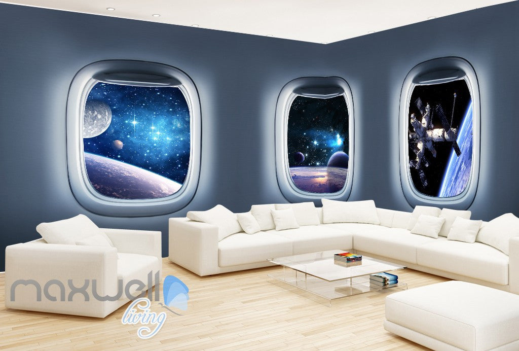 3d space craft window view wall murals wallpaper paper art for Decor mural 3d