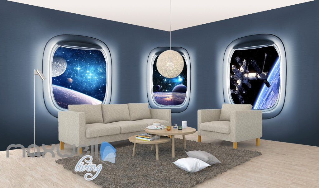 3D Space Craft Window View Wall Murals Wallpaper Paper Art Print Decor IDCQW-000380