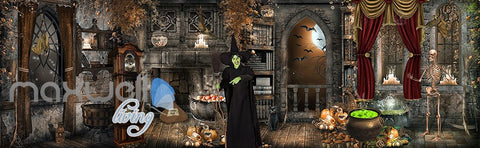 Image of 3D Witch Hounted House Wall Murals Wallpaper Paper Art Print Decor IDCQW-000382
