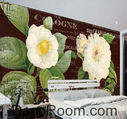 Image of White Flower Camellia Vintage 000001 Wallpaper Wall Decals Wall Art Print Mural Home Decor Gift Office Business