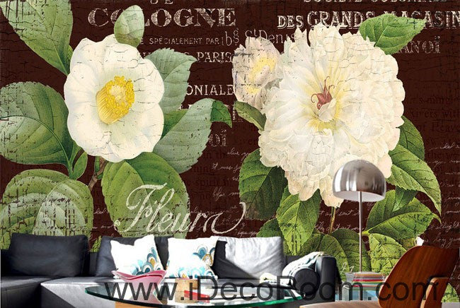 White Flower Camellia Vintage 000001 Wallpaper Wall Decals Wall Art Print Mural Home Decor Gift Office Business
