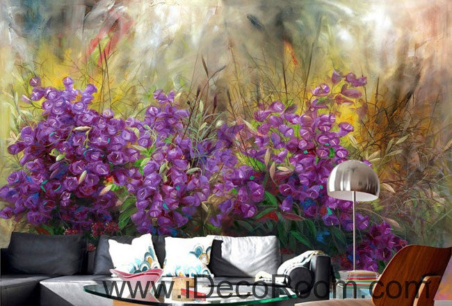 Purple Flower Oilpainting Effect 000002 Wallpaper Wall Decals Wall Art Print Mural Home Decor Gift Office Business