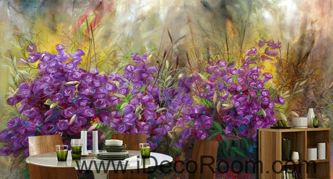 Image of Purple Flower Oilpainting Effect 000002 Wallpaper Wall Decals Wall Art Print Mural Home Decor Gift Office Business