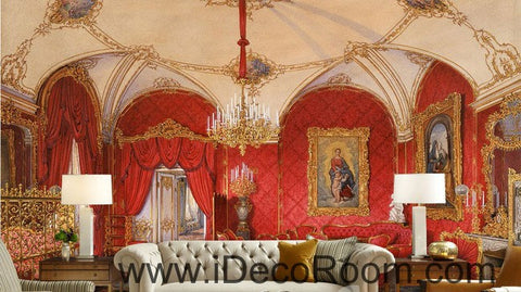 Classic Red Palace 000003 Wallpaper Wall Decals Wall Art Print Mural Home Decor Gift Office Business