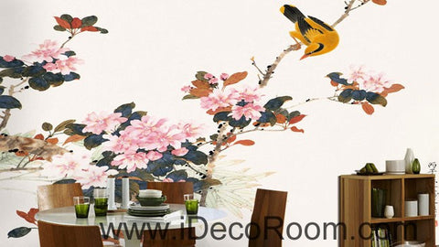 Image of Begonia flower Oriole Bird 000004 Wallpaper Wall Decals Wall Art Print Mural Home Decor Gift Office Business
