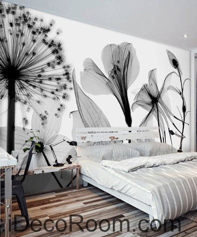 Transparent Dandelion Flowers Modern 000005 Wallpaper Wall Decals Wall Art Print Mural Home Decor Gift Office Business