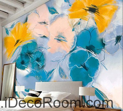 Image of Abstract Blue Yellow Flowers 000007 Wallpaper Wall Decals Wall Art Print Mural Home Decor Gift Office Business